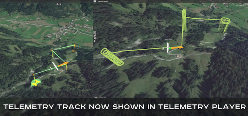 View of routes flight track vs track displayed in telemetry player