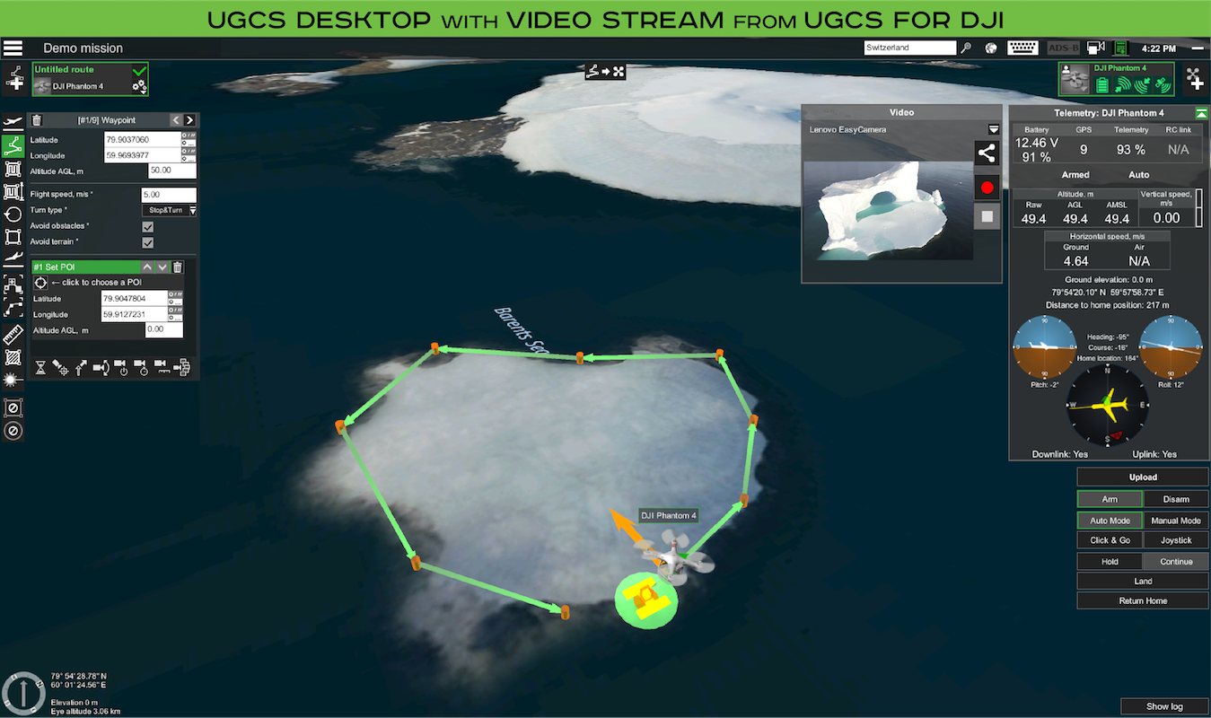 UgCS for Descktop with video stream from UgCS for DJI app