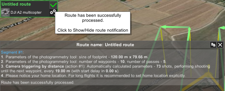 Route calculation status in UgCS Photogrammetry tool