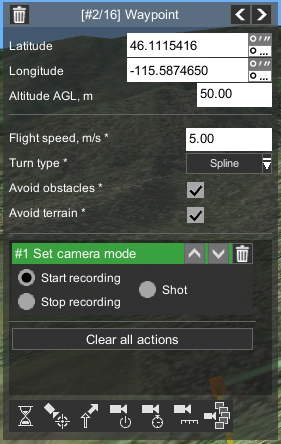 "Adding UgCS ""Set camera mode"" action to start/stop recording"