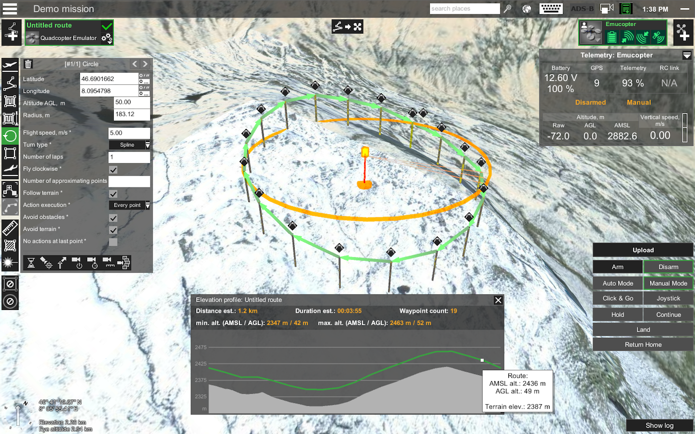 Elevation Plan And Profile : Mission planner drone control ugcs