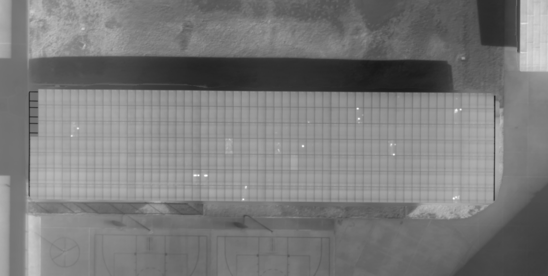 Orthophoto map of small solar panel field