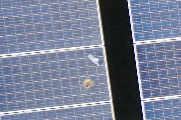 Visible debris on solar panel