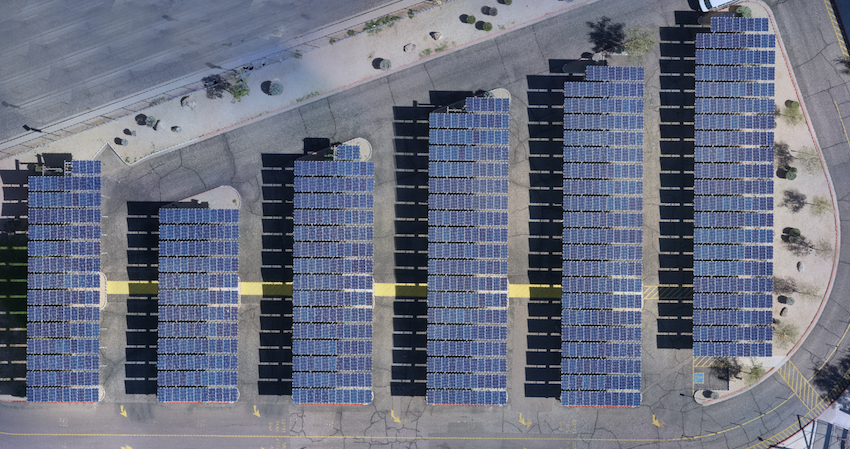 Orthophoto map of solar panel field stitched using photogrammetry software